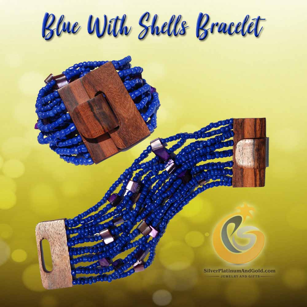 Blue With Shells Bracelet