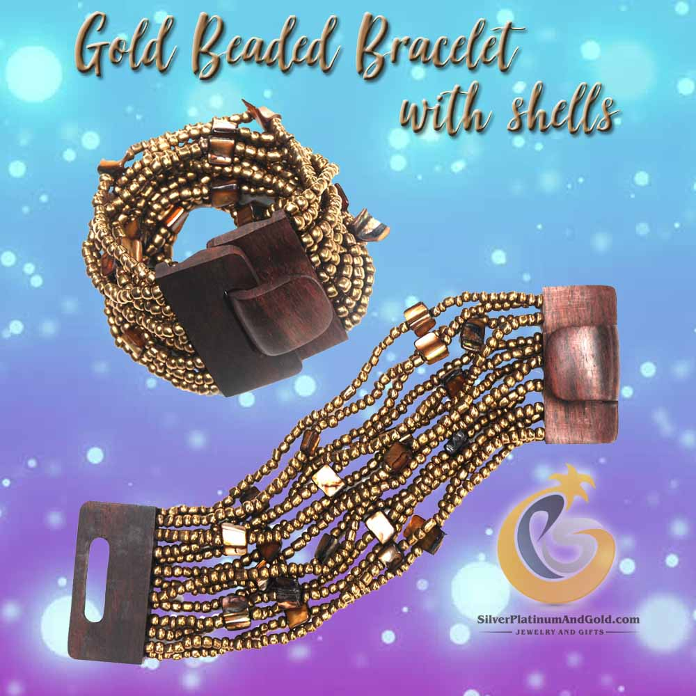 gold beaded bracelet with shells