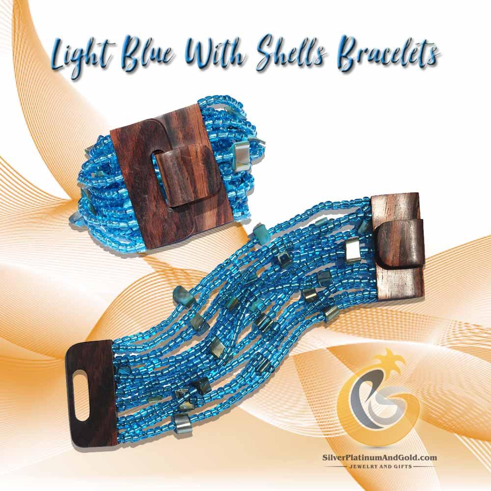Light Blue With Shells Bracelets