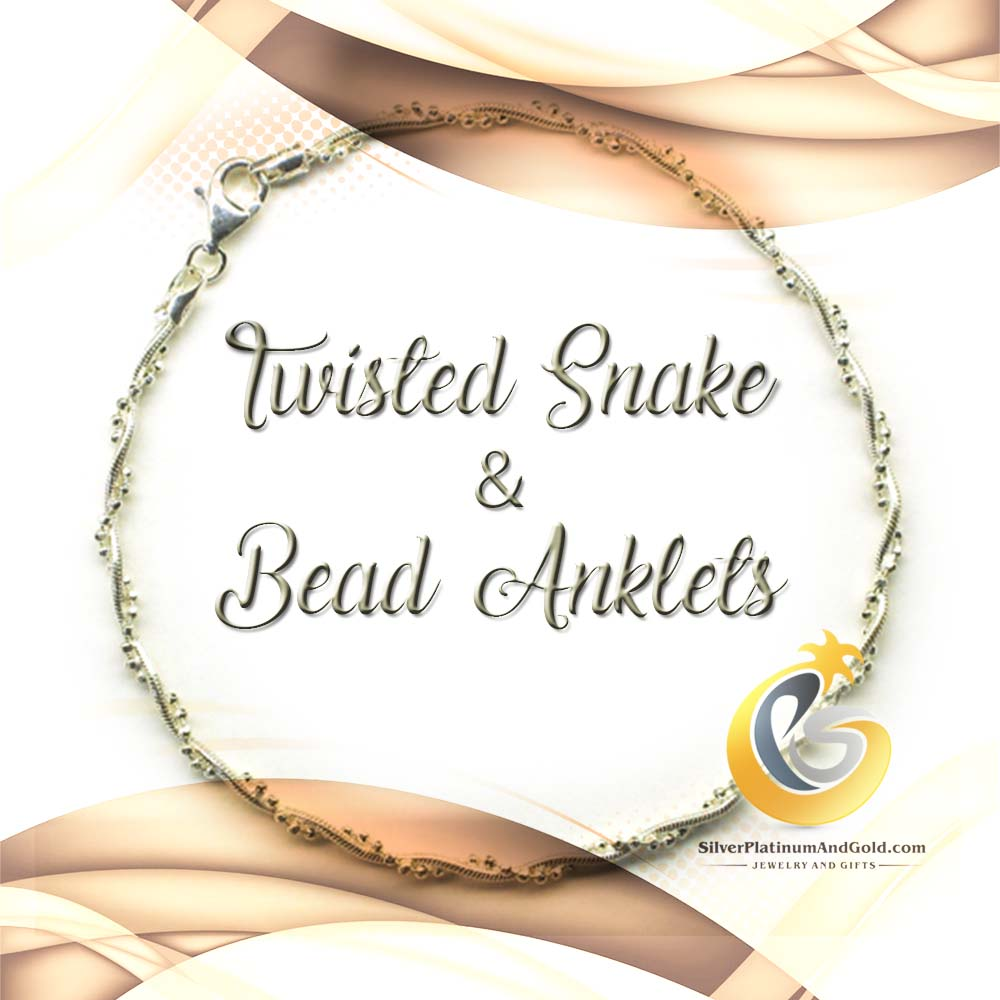Twisted Snake & Bead Anklets
