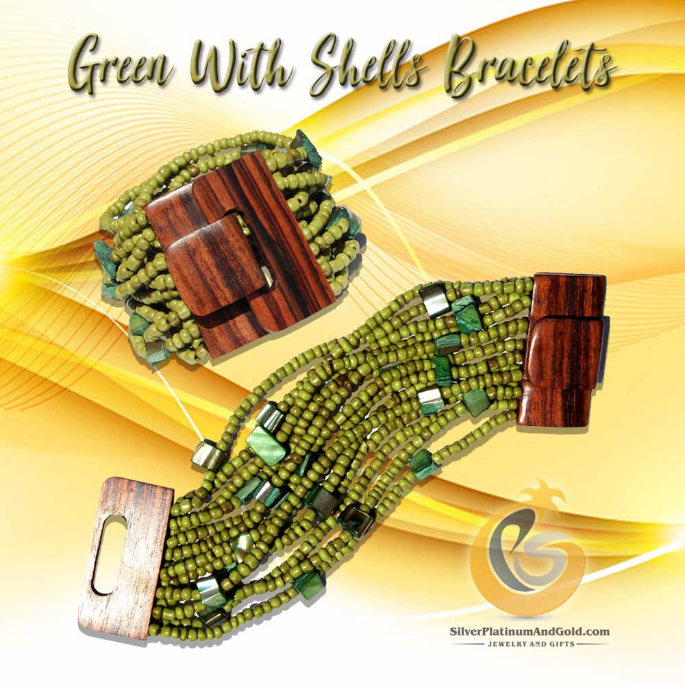 green with shells bracelets